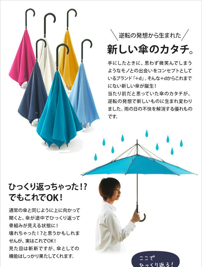 逆転の発想から生まれた、新しい傘のかたち。雨の日の不快を解消する優れものです。