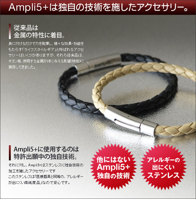 Ampli5+は金属部分に特許出願中の独自技術を施した機能性アクセサリーです。