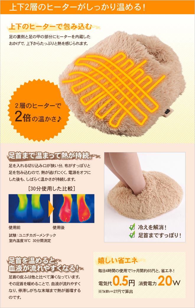 上下2層のヒーターがしっかり温める!足首まで温まって熱が持続。嬉しい省エネ。