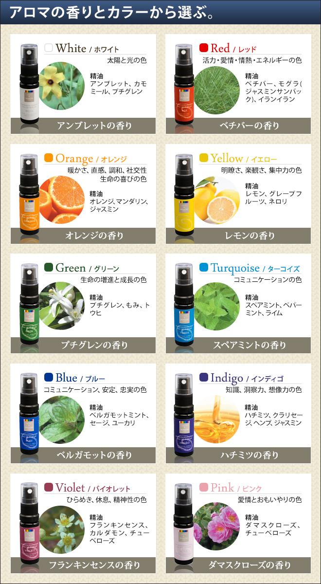 アロマの香りとカラーから選ぶ。