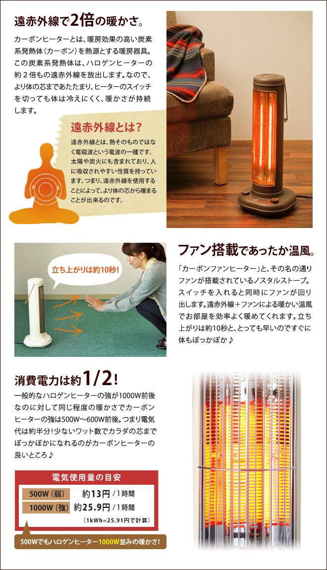 カーボンヒーターだから、身体の芯まであたたまり、ヒーターのスイッチを切っても冷えにくく、暖かさが持続します。