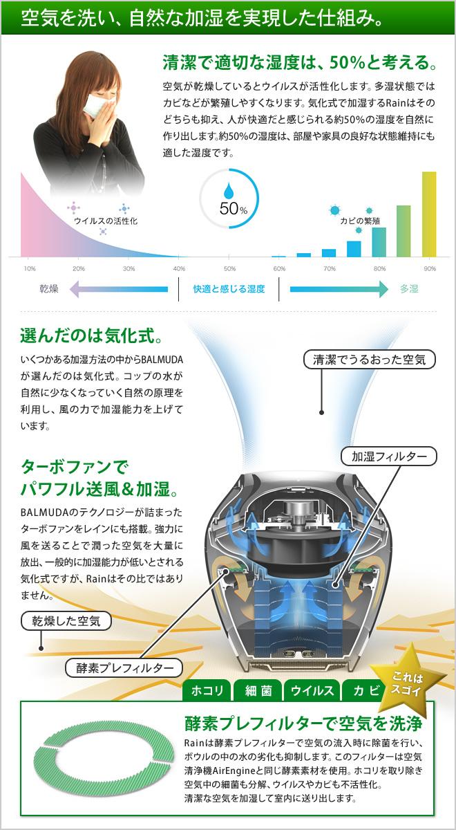 Rainは消費電力を抑えた気化式加湿器。空気清浄機EirEngineと同じターボファンと酵素フィルター搭載で、加湿しながら空気を清浄します。