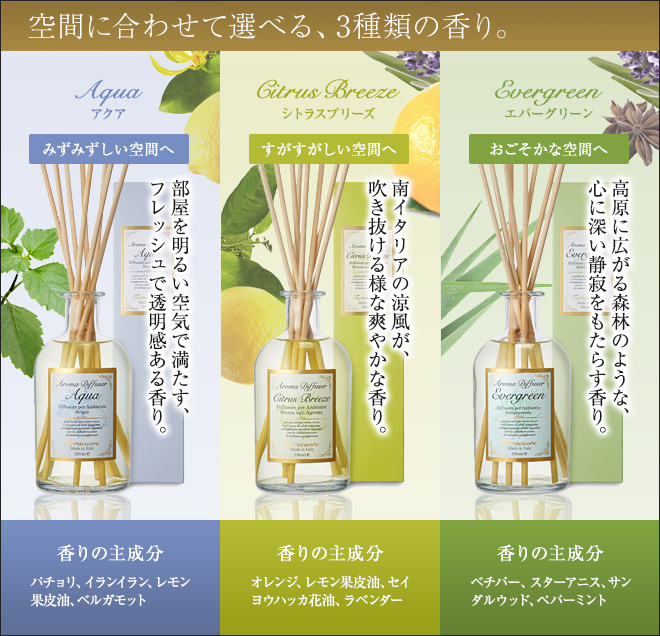 空間に合わせて選べる、3種類の香り。