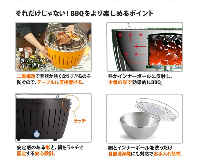 容器が熱くなりすぎずテーブルに直接置けます。網とインナーボールは食洗機に対応。
