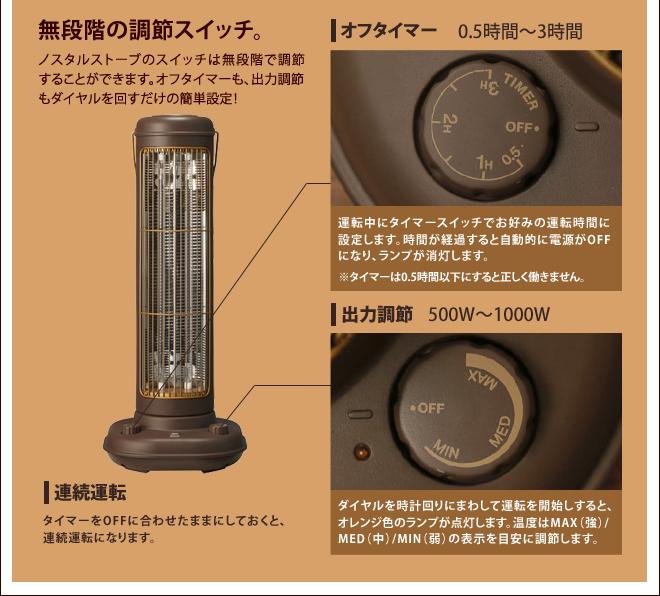 タイマー、出力は無段階で調節可能!ダイヤルを回すだけで簡単に操作できます。