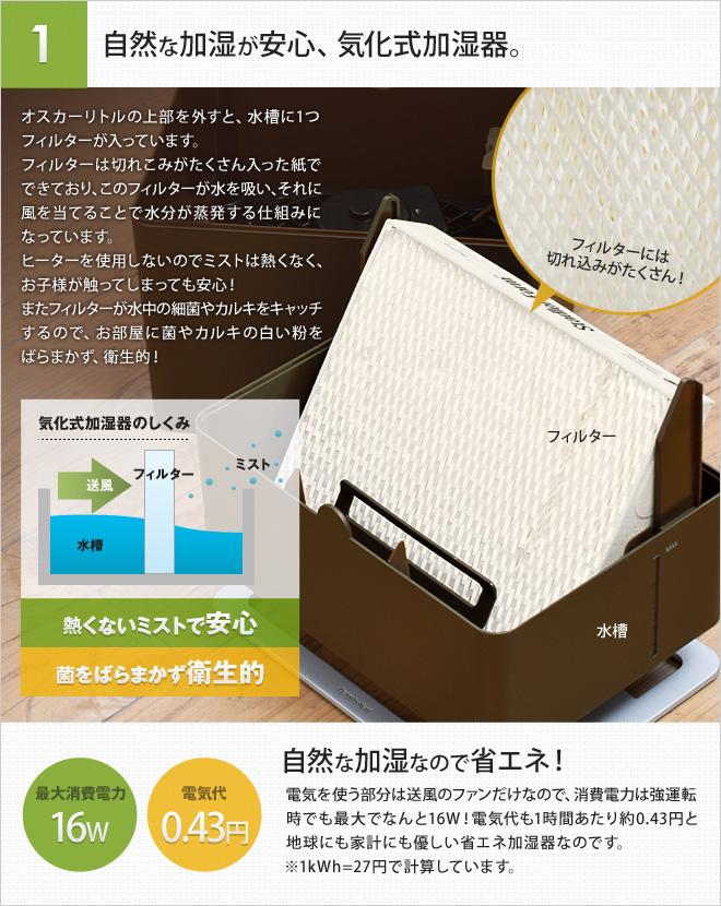 自然な加湿が安心、気化式加湿器。